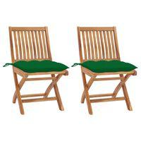 vidaXL Sodo kėdės su žaliomis pagalvėlėmis, 2vnt., tikmedžio masyvas