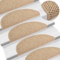 vidaXL Lipnūs laiptų kilimėliai, 15vnt., smėlio spalvos, 56x20cm