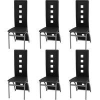 vidaXL Valgomojo kėdės, 6 vnt., juodos, dirbtinė oda