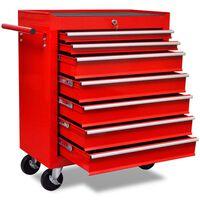 Raudonas Įrankių Vežimėlis Dirbtuvėms su 7 Stalčiais