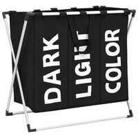 vidaXL 3 skyrių skalbinių rūšiavimo krepšys, juodas