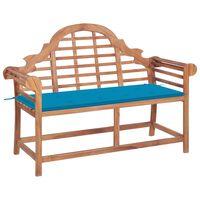 vidaXL Sodo suoliukas su mėlyna pagalvėle, 120cm, tikmedžio masyvas