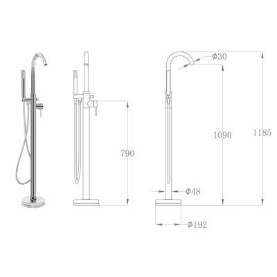 vidaXL Pastatomas vonios maišytuvas, 118,5cm, nerūdijantis plienas