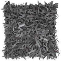 vidaXL Pagalvėlė Shaggy, pilkos spalvos, 60x60cm, oda ir medvilnė