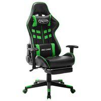 vidaXL Žaidimų kėdė su pakoja, juodos ir žalios spalvos, dirbtinė oda