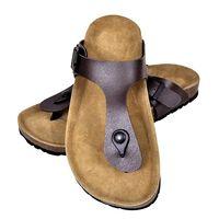 vidaXL Moteriški kamštiniai sandalai, rudi, 41 dydžio