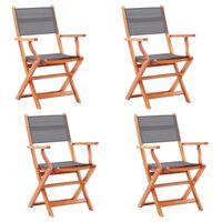 vidaXL Sodo kėdės, 4vnt., pilkos, eukalipto masyvas ir tekstilenas