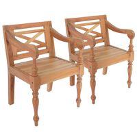 vidaXL Batavia kėdės, 2 vnt., šviesiai rudos, raudonmedžio masyvas
