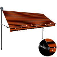 vidaXL Rankinė ištraukiama markizė su LED, oranžinė ir ruda, 300cm