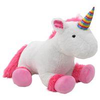 vidaXL Minkštas žaislas vienaragis, rožinės ir baltos sp., pliušinis