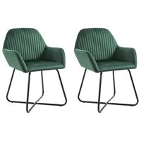 VidaXL Valgomojo kėdės, 2vnt., žalios spalvos, aksomas