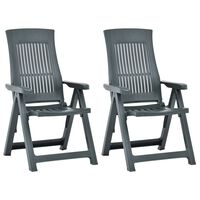 vidaXL Atlošiamos sodo kėdės, 2vnt., žalios spalvos, plastikas