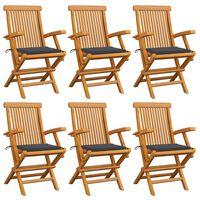 vidaXL Sodo kėdės su antracito pagalvėlėmis, 6vnt., tikmedžio masyvas