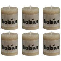 Bolsius Žvakės, 6vnt., pastelinės smėlio, 80x68mm, cilindro formos