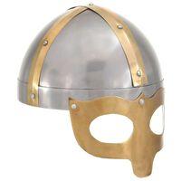 vidaXL Vikingų šalmas, sidabrinis, plienas, antikvarinė kopija