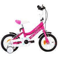 vidaXL Vaikiškas dviratis, juodos ir rožinės spalvos, 12 colių ratai