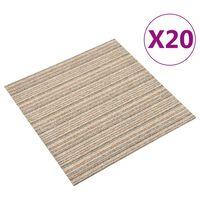 vidaXL Kiliminės plytelės, 20vnt., smėlio, 50x50cm, 5m², dryžuotos