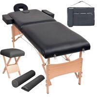 vidaXL 2 zonų sulankst. masaž. stalo ir kėdės komp., 10cm stor., juod.