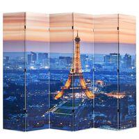 vidaXL Sulankstoma kambario pertvara, 228x170 cm, Paryžius naktį