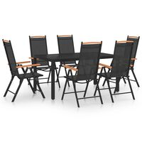 vidaXL Sodo valgomojo baldų komplektas, 7 dalių, juodas, aliuminis