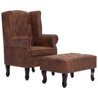 vidaXL Chesterfield krėslas ir pakoja, rudos sp., dirbt. versta oda