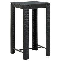 vidaXL Sodo baro staliukas, juodas, 60,5x60,5x110,5cm, poliratanas