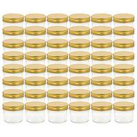 vidaXL Stiklainiai uogienėms su auksiniais dangteliais, 48vnt., 110ml