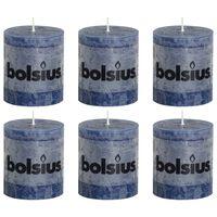 Bolsius Žvakės, 6vnt., tamsiai mėlynos, 80x68mm, cilindro formos