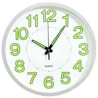 vidaXL Šviečiantis sieninis laikrodis, baltos spalvos, 30cm