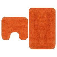 vidaXL Vonios kilimėlių rinkinys, 2d., audinys, oranžinis