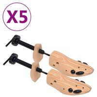 vidaXL Kurpaliai, 5 poros, pušies medienos masyvas, 41-46 dydžio