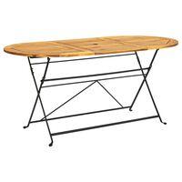 vidaXL Sodo stalas, 160x85x74cm, akacijos masyvas, ovalo forma