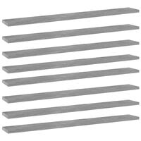 vidaXL Knygų lentynos plokštės, 8vnt., betono pilkos, 80x10x1,5cm, MDP