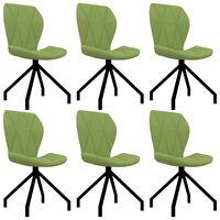 vidaXL Valgomojo kėdės, 6vnt., žalios spalvos, dirbtinė oda (3x282559)