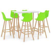 vidaXL Baro baldų komplektas, 7 dalių, žalias (287250+3x289173)