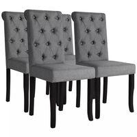 vidaXL Valgomojo kėdės 6 vnt., tamsiai pilkos, audinys