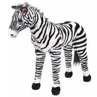 vidaXL Stovintis pliušinis žaislas zebras, baltas ir juodas, XXL