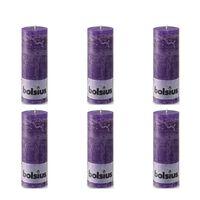 Bolsius Kaimiško stiliaus žvakės, 6vnt., violetinės, 190x68mm