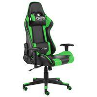 vidaXL Pasukama žaidimų kėdė, žalios spalvos, PVC