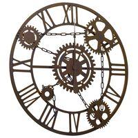 vidaXL Sieninis laikrodis, rudos spalvos, 80cm, metalas