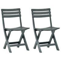vidaXL Sulankstomos sodo kėdės, 2vnt., žalios spalvos, plastikas