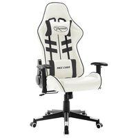 vidaXL Žaidimų kėdė, baltos ir juodos spalvos, dirbtinė oda