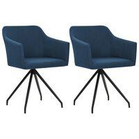 vidaXL Valgomojo kėdės, 2 vnt., mėlynos spalvos, audinys, pasukamos