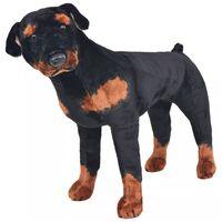 vidaXL Pastat. pliušinis žaislas šuo, rotveileris, juodas ir rud., XXL