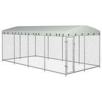 vidaXL Lauko voljeras šunims su stogu, 8x4x2m