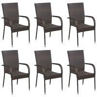 vidaXL Sudedamos lauko kėdės, 6vnt., rudos spalvos, poliratanas