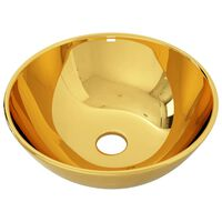 vidaXL Praustuvas, 28x10cm, auksinės spalvos, keramika