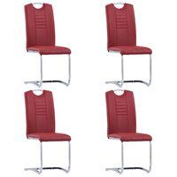 vidaXL Gembinės valgomojo kėdės, 4 vnt., raudonos, dirbtinė oda