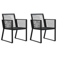 vidaXL Sodo kėdės, 2vnt., juodos spalvos, PVC ratanas