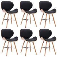 vidaXL Valgomojo kėdės, 6vnt., juodos spalvos, dirbtinė oda ir mediena